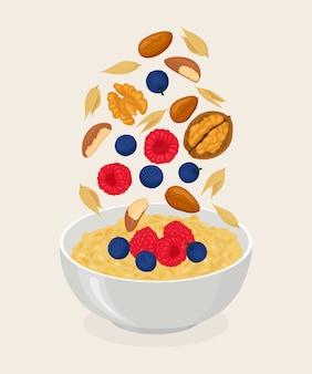 Porridge di avena nella ciotola
