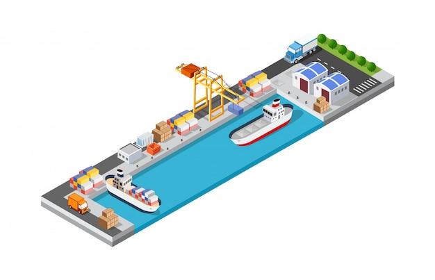Logistica di trasporto delle navi mercantili portuali Vettore Premium