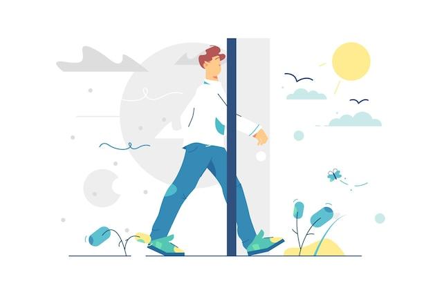 Porta del portale per vivere meglio. l'uomo passa dalla vita grigia e triste a uno stile piatto di vita solare e felice. nuova vita, cambia idea, concetto di cambio di stagione.