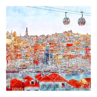 Illustrazione disegnata a mano di schizzo ad acquerello di porto portogallo