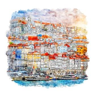Illustrazione disegnata a mano di schizzo dell'acquerello di porto portogallo