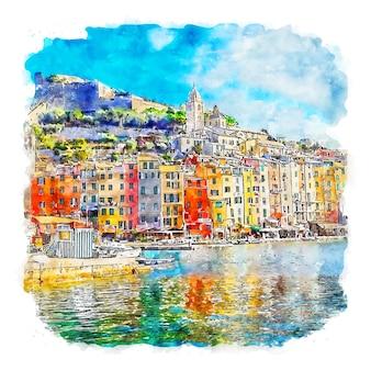 Illustrazione disegnata a mano di schizzo ad acquerello di porto venere italia