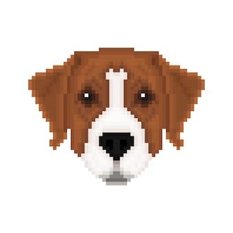 Ritratto di un pinscher australiano in stile pixel art. illustrazione vettoriale.