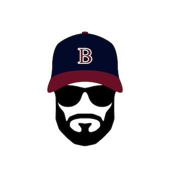 Ritratto di un giocatore di baseball con occhiali e cappello
