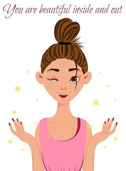 Ritratto di una bella ragazza con il trucco. stile cartone animato. illustrazione vettoriale.