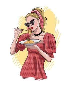 Ritratto di un disegno a mano giovane e bella donna. la ragazza sta mangiando la pasta. illustrazione di schizzo