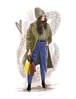 Ritratto di un disegno a mano giovane e bella donna. la ragazza è impegnata nello shopping. ragazza con gli acquisti. illustrazione di schizzo