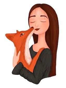 Ritratto di una ragazza cartone animato con una volpe tra le braccia.