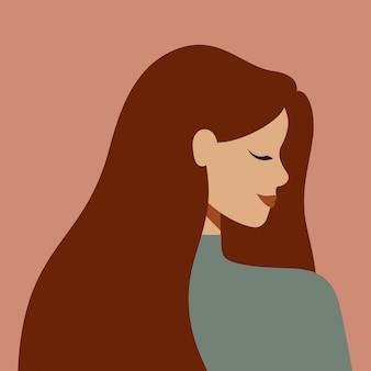 Ritratto di una donna caucasica di profilo con i capelli lunghi. avatar di giovane ragazza bianca
