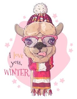 Ritratto di alpaca carino in accessori natalizi