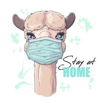 Ritratto di alpaca carino nella mascherina medica