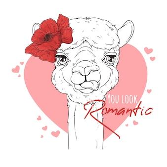 Ritratto di alpaca carino con fiori.