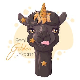 Ritratto di alpaca carino con corno di unicorno.