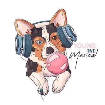 Ritratto di simpatico cane in cuffie musicali