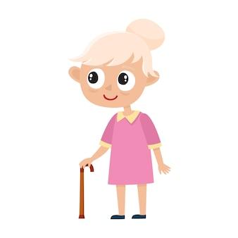 Ritratto dell'anziana sveglia con il bastone isolato su bianco, illustrazione della nonna felice in vestiti alla moda con capelli grigi, signora senior sulla camminata.