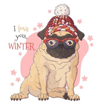 Ritratto di cute pug dog in accessori natalizi