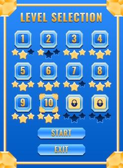Interfaccia di selezione del livello dell'interfaccia utente del gioco del diamante dorato di fantasia del ritratto per gli elementi delle risorse della gui