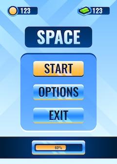 Interfaccia della schermata principale dello spazio della gui verticale per gli elementi delle risorse dell'interfaccia utente del gioco