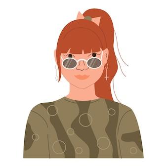 Ritratto di una ragazza adolescente sorridente felice avatar di un personaggio femminile adolescente divertente ed elegante vettore piatto