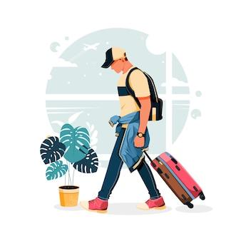 Ritratto di uomo che porta la sua valigia in aeroporto