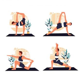 Ritratto di uomini che fanno yoga design piatto illustrazione