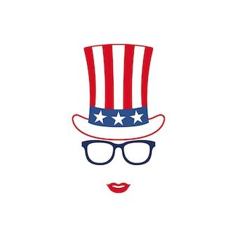 Ritratto di ragazza patriottica in occhiali e cappello dello zio sam