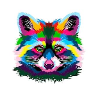 Ritratto di una testa di procione da vernici multicolori spruzzata di disegno colorato ad acquerello realistico