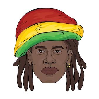 Ritratto di rastaman. la faccia dell'uomo nero con un cappello rastaman. illustrazione, su bianco.