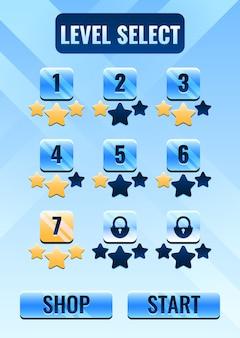 Interfaccia di selezione del livello dell'interfaccia utente del gioco spaziale per gli elementi delle risorse della gui