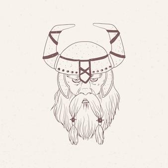Ritratto di vichingo con la barba che indossa elmo cornuto disegnato a mano con linee di contorno