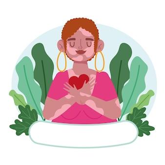 Donna del ritratto con l'illustrazione di amore di sé del personaggio dei cartoni animati della vitiligine
