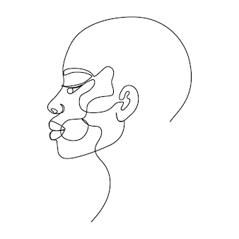 Ritratto di giovane bella donna di colore con illustrazione di vettore di arte di linea di disturbo della pelle di vitiligine