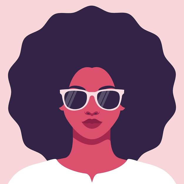 Ritratto di una giovane donna in occhiali da sole con un'acconciatura lussureggiante avatar di donna