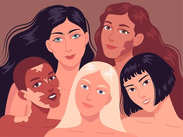 Ritratto di giovani donne con diversi tipi di pelle.