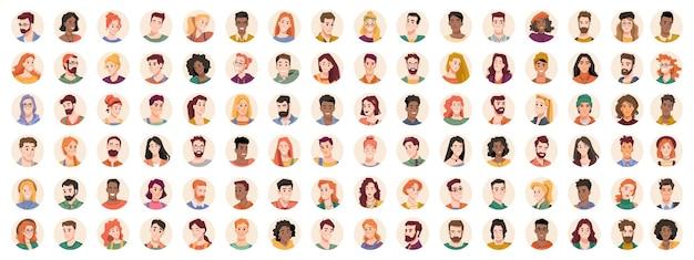 Ritratti e avatar di persone, maschi e femmine che esprimono emozioni