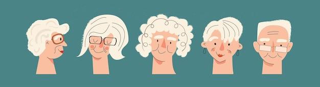 Ritratti di persone anziane set di avatar adulto maturo personaggio anziano uomini e donne anziani