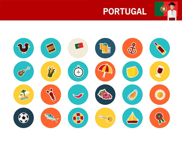 Icone piane di concetto di portogallo