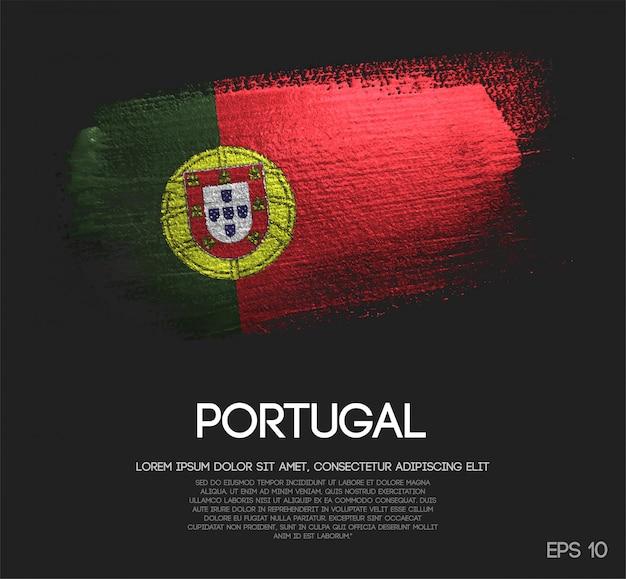 Bandiera del portogallo fatta di glitter scintillio pennello