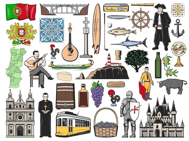 Icone portoghesi con punti di riferimento di viaggio portoghesi. tram, bandiera, ponte e castello di lisbona