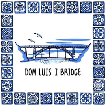 Illustrazione del punto di riferimento del portogallo ponte dom luis i porto