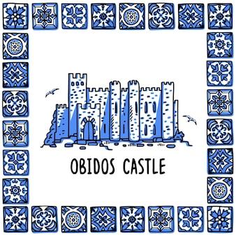 Illustrazione del punto di riferimento del portogallo castello di obidos