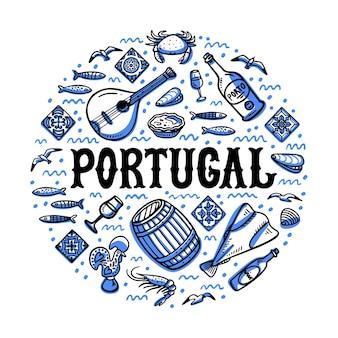 Illustrazione del punto di riferimento del portogallo design di forma rotonda con simboli del portogallo