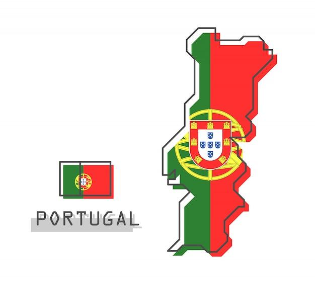 Mappa e bandiera del portogallo