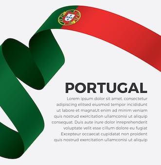 Illustrazione vettoriale di bandiera del nastro del portogallo su uno sfondo bianco vettore premium