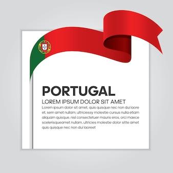 Bandiera del nastro del portogallo, illustrazione vettoriale su sfondo bianco