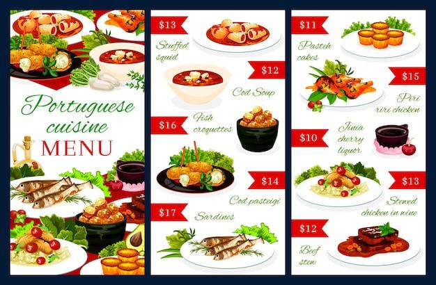 Modello di menu portoghese calamari ripieni