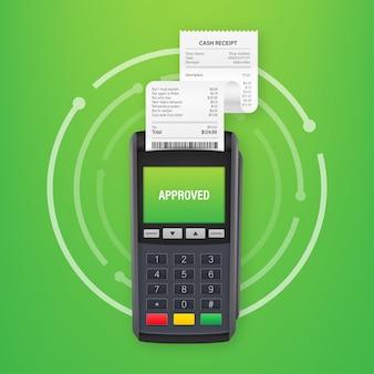 Pos terminale di pagamento. pagamento approvato. illustrazione di riserva di vettore