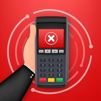 Pos terminali di pagamento. pagamento rifiutato. illustrazione di riserva di vettore