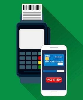 Pos pagamento terminale tramite smartphone. illustrazione in design piatto su sfondo verde. concetto di pagamenti di near field communication.