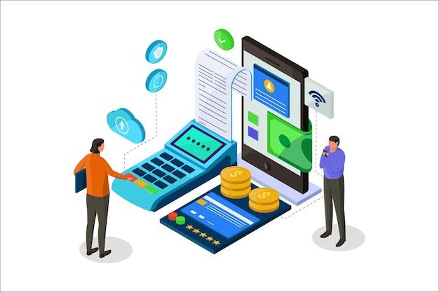 Illustrazione isometrica di pagamento terminale pos